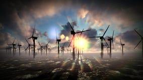 Dämmerungshimmel über Windmühlenoffshoreturbinenbauernhof stock video footage