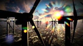 Dämmerungshimmel über Windmühlenoffshoreturbinenbauernhof stock video