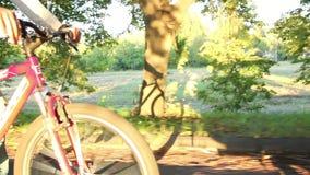 Dämmerungsreiten zwei Fahrräder im Sonnenlicht fährt die jungen romantischen Paare rad stock video footage