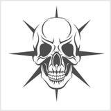Dämon-Schädel auf Weiß Stockfoto