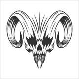 Dämon-Schädel auf Weiß Stockfotografie