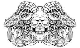 Dämonschädel mit Hexen lizenzfreie abbildung