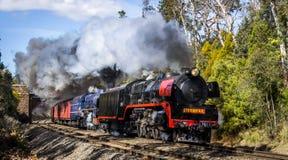 Dämpfen Sie den Zug, der durch Macedon, Victoria, Australien, im September 2018 reist lizenzfreies stockbild