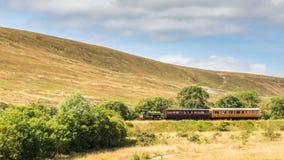 Dämpfen Sie Zug der Erbeisenbahn in Blaenavon, Wales, Großbritannien Lizenzfreies Stockbild