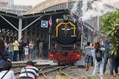 Dämpfen Sie Zug an der Reichsbahn von Thailand 119 Jahre Jahrestag Lizenzfreies Stockbild