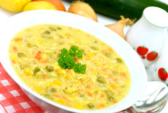 Dämpfen-Suppe mit rotem grünem Pfeffer, grüne Erbse, Mischveg Lizenzfreie Stockbilder