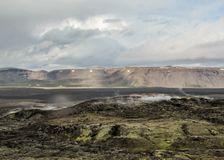 Dämpfen von den Lavafeldern vulkanischen Systems Krafla, gelegen nördlich des Sees Myvatn in Nord-Island, Europa stockbild
