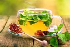Dämpfender heißer Tee im Glascup Stockfotos