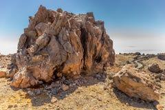 Dämpfender vulkanischer Felsen am Berg Teide, Teneriffa, Kanarische Insel, Spanien lizenzfreies stockbild