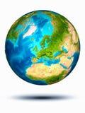 Dänemark auf Erde mit weißem Hintergrund Stockfotografie