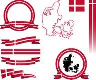Dänemark-Fahnen-Satz Stockfotos