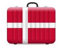 Dänemark-Flaggenreisekoffer lizenzfreie abbildung