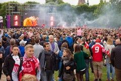 Dänemark schlägt Holland - Euro2012 Lizenzfreie Stockfotos
