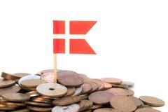 Dänische Münzen mit Flagge Lizenzfreies Stockfoto