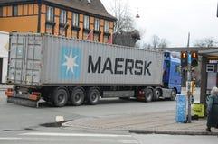 DÄNISCHE MAERSK-SCHIFFSLINIE BEHÄLTER Stockfoto