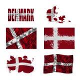 Dänische Markierungsfahnencollage Lizenzfreie Stockfotografie
