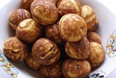 Dänische Pfannkuchen Aebleskiver ebleskiver Stockfotos