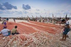 Där fixa stort format av fisknät i Chaktai Khal kallade sorg av den Chittagong staden Royaltyfria Foton