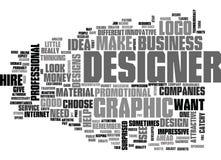Därför hyra en grafisk formgivare Word Cloud stock illustrationer