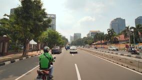 Dżakarta Indonezja, Styczeń, - 15, 2019: Hyperlapse na drogach miasto Dżakarta Indonezja zbiory