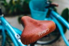 Dżdżysty błękitny siedzenie od roweru po środku dnia zdjęcie stock