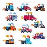 Dżetowego ciężarowego wektorowego dopalanie samochodu wyścigowego flamy włóczydło ściga się na speedcar ilustracyjnym ustawiający ilustracji
