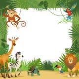 Dżungli zwierząt karta Ramowi zwierzęcy tropikalni liście wita dziecko sztandaru zoo granicy szablon bawją się dzieci ilustracji