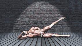 3D在旁边绑架姿势的男性图在难看的东西内部 库存例证
