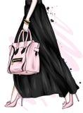 Długa kobieta iść na piechotę w pięknej spódnicie heeled butach i Elegancka torba Moda, styl, odzież i akcesoria, ilustracja wektor