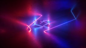 3d回报,抽象霓虹背景,萤光紫外光,空的室,现代最小的大模型,桃红色蓝色发光的线 库存例证