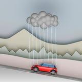Dålig ferie - bil och det enda regnmolnet Arkivbild