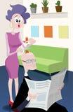 Dålig frisyr i frisersalongen stock illustrationer