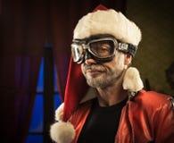 Dålig jultomten med skyddsglasögon Royaltyfria Bilder