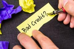 Dålig kreditering? på en begreppsmässig bild royaltyfri fotografi