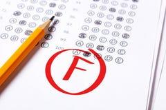 Dålig kvalitet F är skriftlig med den röda pennan på proven royaltyfri bild
