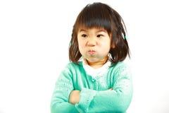Dålig lynnejapanliten flicka Arkivbild