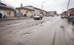 Dålig rysk väg Fotografering för Bildbyråer