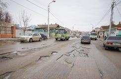 Dålig rysk väg Royaltyfri Foto