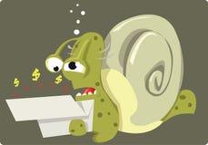 Dåliga nyheter för den Herr snailen Arkivbild