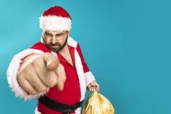 Dåliga Santa Clous Man Arkivfoto