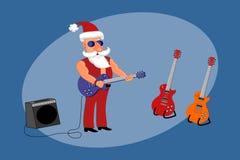 Dåliga Santa Rock Star står på etapp med gitarren royaltyfri illustrationer