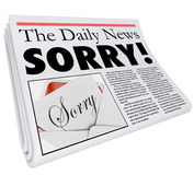 Dåligt anmäla för ledsen för ordtidningsrubrik orätt för ursäkt Arkivbilder