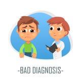Dåligt diagnosläkarundersökningbegrepp också vektor för coreldrawillustration Arkivbilder