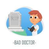Dåligt doktorsläkarundersökningbegrepp också vektor för coreldrawillustration Arkivbilder