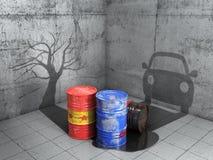 dåligt gott Ensembleskugga för olje- trummor i form av bilen och form av det döda trädet illustration 3d stock illustrationer