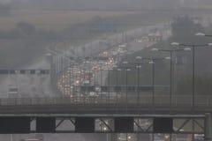 Dåligt väder på motorwayen för britt M1 Royaltyfri Bild
