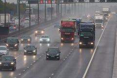 Dåligt väder på motorwayen för britt M1 Fotografering för Bildbyråer