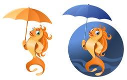 Dåligt väder Rolig guld- fisk med paraplyet Royaltyfri Fotografi