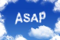 DÈS QUE POSSIBLE - mot de nuage Image libre de droits