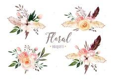 Dé a acuarela aislada dibujo del boho el ejemplo floral con las hojas, ramas, flores Arte bohemio del verdor adentro stock de ilustración